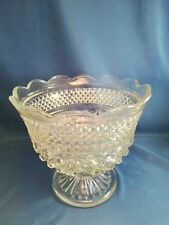 Vintage Anchor Hocking Wexford Pattern Clear Glass Footed Bowl w/ Scalloped Edge
