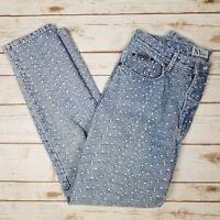 Vtg 90s NY Jeans Light Wash Embroidered Floral Denim Tapered Blue Jeans Size 12