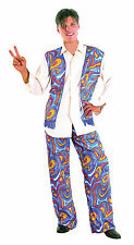 Homme Flower Power Hippie Années 1970 COSTUME ROBE FANTAISIE BLEU Groovy 70's outfit new