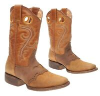 BUCKAROO Cowboy Boots 3 M Boys Youth Brown Leather WESTERN Rodeo Roper Boots