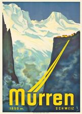 Vintage Ski Posters MURREN, Switzerland, 1933, Art Deco Travel Print