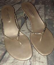 St. John thong kitten heel sandals gold size 10B made in Italy