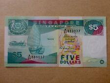 Singapore $5 Ship Series 1989 (PERFECT UNC) A/96 889037