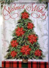 "Lrg Carson ""Warmest Wishes"" Poinsettias Christmas Tree Porch Flag-28"" x 40"""
