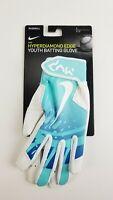 NIKE Hyperdiamond Edge Youth Baseball Batting Gloves Large White/Mint New