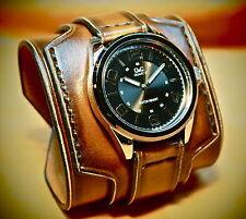 Leather Cuff Watch Brown Nathan Drake Custom made for you by Freddie Matara USA