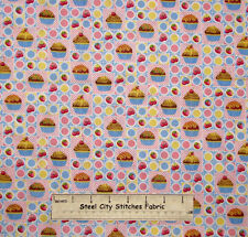 Sweet Cakes Cupcakes Strawberry Cherry Dessert Pink Blue Cotton Fabric 24 inches