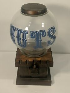 """""""NUTS"""" Nut Or Gumball Dispenser Wood & Glass Dome (FREE PULL) Vintage!!"""