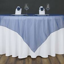 "NAVY Midnight BLUE Sheer Organza 90""x90"" SQUARE TABLE OVERLAY Topper TABLECLOTH"