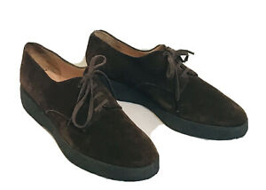 Designer Robert Clergerie Brown Suede Shoes Brogues Lace Up Flats 36.5 UK 3.5-4