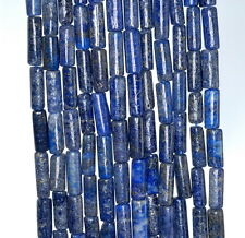 "8X4-16X5MM  LAPIS LAZULI GEMSTONE BLUE ROUND TUBE LOOSE BEADS 14"""