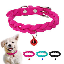 Cute Braided Dog Collars &Bell Adjustable for XSmall Small Medium Dogs Cat Puppy