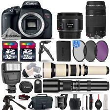 Canon EOS Rebel T7i SLR Camera 800D + 50mm 1.8 + 75-300mm III Lens - 64GB Kit