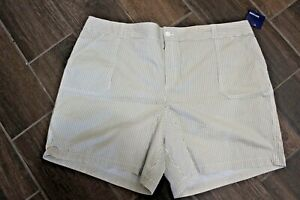 BASIC EDITIONS Beige Tan White Striped Casual Shorts Plus Size 3X