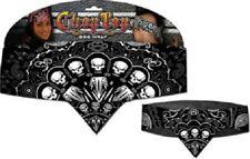 Black White Skull Wire Paisley Chop Top Bandanna head wrap Sweatband Headband