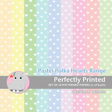 18 Patterned Paper Sq 140mm -Perfectly Printed Craft Paper - Pastel Polka Hearts