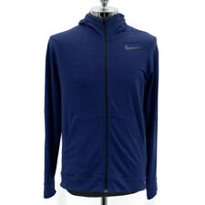 Nike Dri Fit Full Zip Training Hoodie Jacket Heather Blue Rayon Men's Size Large