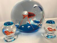 "3PC Murano Italy SIGNED Art Glass AQUARIUM Fish Bowl Sculptures 5"" Cenedese"