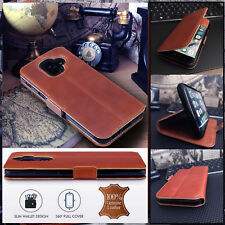 ION   Low Profile Cover Real Leather TAN Book Case Sony Xperia ZX4