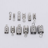 50pcs Stainless Steel Cords Crimp End Beads Caps DIY Bracelet Jewelry Connectors