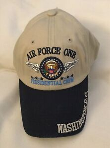 AIR FORCE ONE 1 PRESIDENT US CREW COMMANDER HAT EAGLE SEAL GOLF CAP WHITE HOUSE