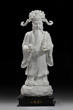 "16"" China Dehua White Porcelain Mammon Money Wealth God Coin Yuanbao Reel Statue"