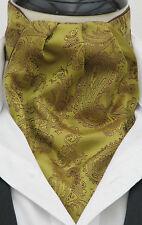 Mens Antique Gold & Chocolate Paisley Silk Satin Ascot Cravat & Hanky-Made in UK