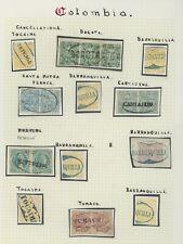 COLOMBIA STAMPS 1871-1881 TUMACO, TOCAIMA, BOGOTA ETC CANCELS INCS PAIRS VF