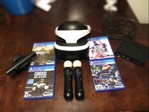 Sony-PlayStation-VR-PS4-Virtual-Reality-Headset-Bundle-4 Games-Move Controllers