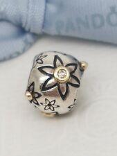 Genuine Pandora Two Tone Starflower Silver Charm with DIAMONDS 14k Gold 790399DN