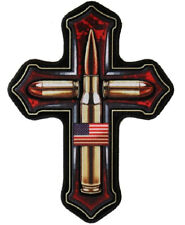 Bless These Cross Bullets Jacket Vest Back Patch [Iron on Sew on - 8.0 X 11.0 in