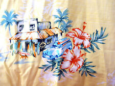 Hilo Hattie Hawaiian Shirt Mens 5XL Yellow Woodie Car Stores Surfboards Volcano