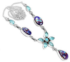 Copper Purple Turquoise 925 Sterling Silver Necklace Jewelry SN16522