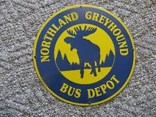 NORTHLAND GREYHOUND BUS DEPOT PORCELAIN ADVERTISING SIGN WITH BULL MOOSE
