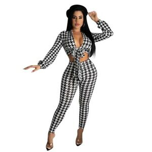 Sexy Women's V Neck Long Sleeves Tie-front Patchwork Bodycon Club Jumpsuit 2pcs