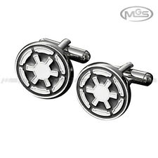 Men's Cufflinks Star Wars Imperial Empire Marvel Black White Silver Wedding Suit