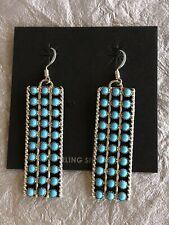 Zuni Sterling Silver & Turquoise Snake Eye Dangle Earrings Signed