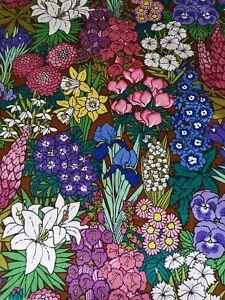 Vintage Sanderson 'Duelques Fleurs' Bright multi-coloured Floral Sateen Fabric