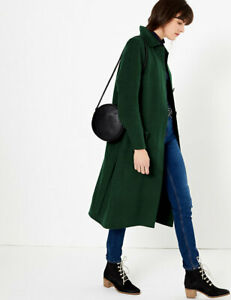 MARKS AND SPENCER WOOL BLEND BELTED CAR COAT GREEN COLOUR SIZE 18
