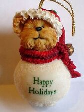 Boyds-Snowbear Ornaments with Sayings-Happy Holidays