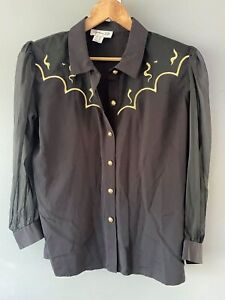 Fashion Elle VINTAGE Black Long Sleeve Button Up Shirt With Gold Buttons Size 10