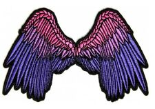 Beautiful Angel Wings in Pink & Purple Patch Embroidered Iron On Lady Biker