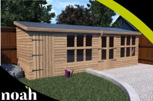 16x10 'Frederick' Heavy Duty Wooden Garden Summerhouse/Shed/Workshop/Garage