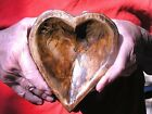 Hand carved wooden heart shaped dough bowl 2381