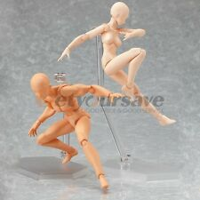 2 pcs Japan Art Figure Doll typical He and she Flesh Color Version Figma style