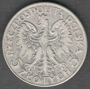 Poland 5 Zlotych 1932  Queen Judwiga , High Grade UNC ?? ,  Silver coin (0321)