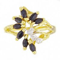 14k Yellow Gold Sapphire & Diamond Accent Floral Leaf Cluster Ring Size 7.5