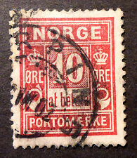 NORWAY #J3a (Scott)  VF USED ROSE RED POSTAGE DUE
