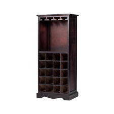 Wood Wine Cabinet Bottle Glass Holder Drink Bar Home Kitchen Storage Rack Decor