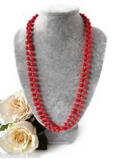 20's Flapper Style Long Rope Bead Necklace in Red Plastic Beads 48""